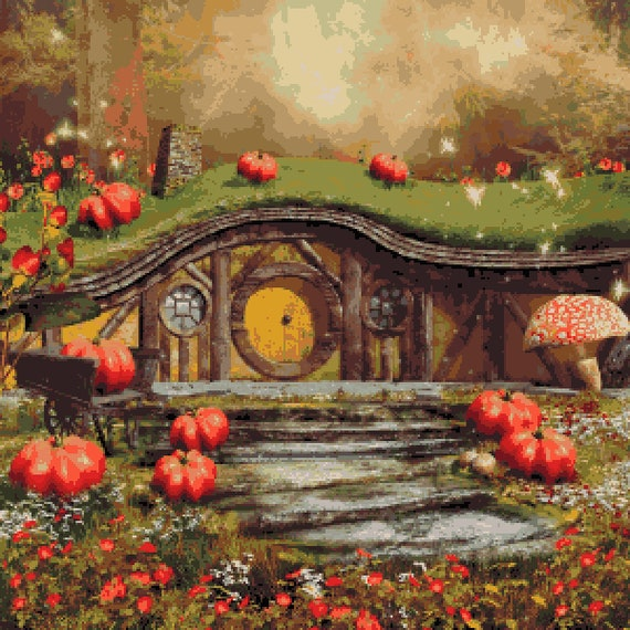 Fairytale Cottage Cross Stitch Pattern Fantasy Autumn Pixel Etsy