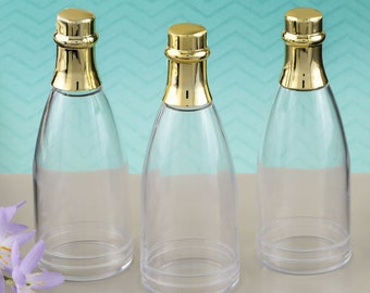 Blank Acrylic Mini Champagne Bottles with Gold or Silver Foil Lid, Mini Champagne Bottle Favors