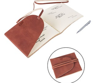 Personalized Leather Guest Book Journal, Wedding Guestbook