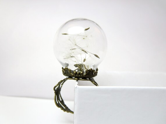 Eco Friendly Black Resin Ring Resin Jewellery Nature Specimen Resin Ring Dandelion Real Seeds Ring Make a Wish