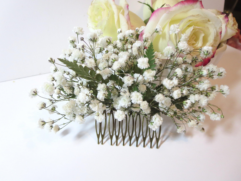 White flower hair comb Dried babies breath hair comb First communion hair comb