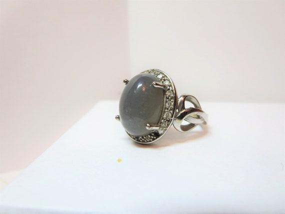 Vintage moonstone silver ring, 14k Amore Vintage r