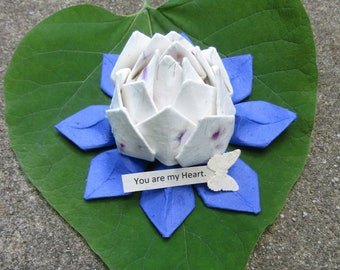 Lotus engagement etsy plantable wildflower seed and petal paper origami handmade lotus flower with personalized message tab and tealight mightylinksfo