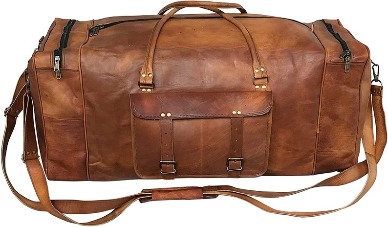 Unisex Holdall Leather Luggage Bag Gift for him father Handmade Vintage Bag Carry On Oversized Leather Duffle Bag Carry on Baggage