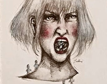 "Watercolor and Pen Drawing ""Big Angry."""