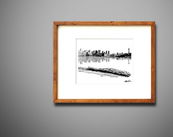 Printable Pen and Ink Hand Sketch Drawing - Seattle, Washington Skyline - INSTANT DOWNLOAD. View from the Gas Works Park. Drawn in 2018.