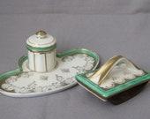 Inkwell Extinguishing Cradle Desk Set Writing Set Porcelain Roland Langewiesen Vintage