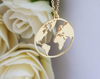 World map necklace etsy globe necklace rose gold globe necklace earth necklace boho jewelry silver necklace globe pendant globe choker world map necklace gumiabroncs Choice Image