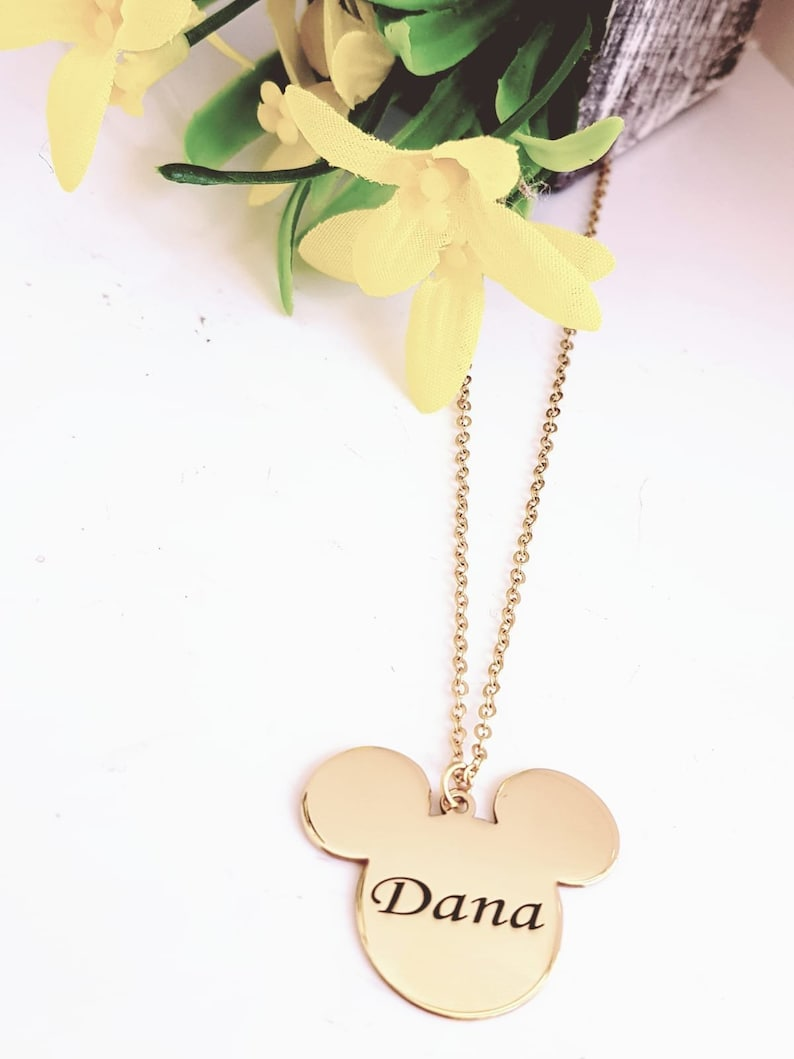 6fd164c37 Mickey mouse Necklace. Name Necklace. Mickey mouse. Girl | Etsy