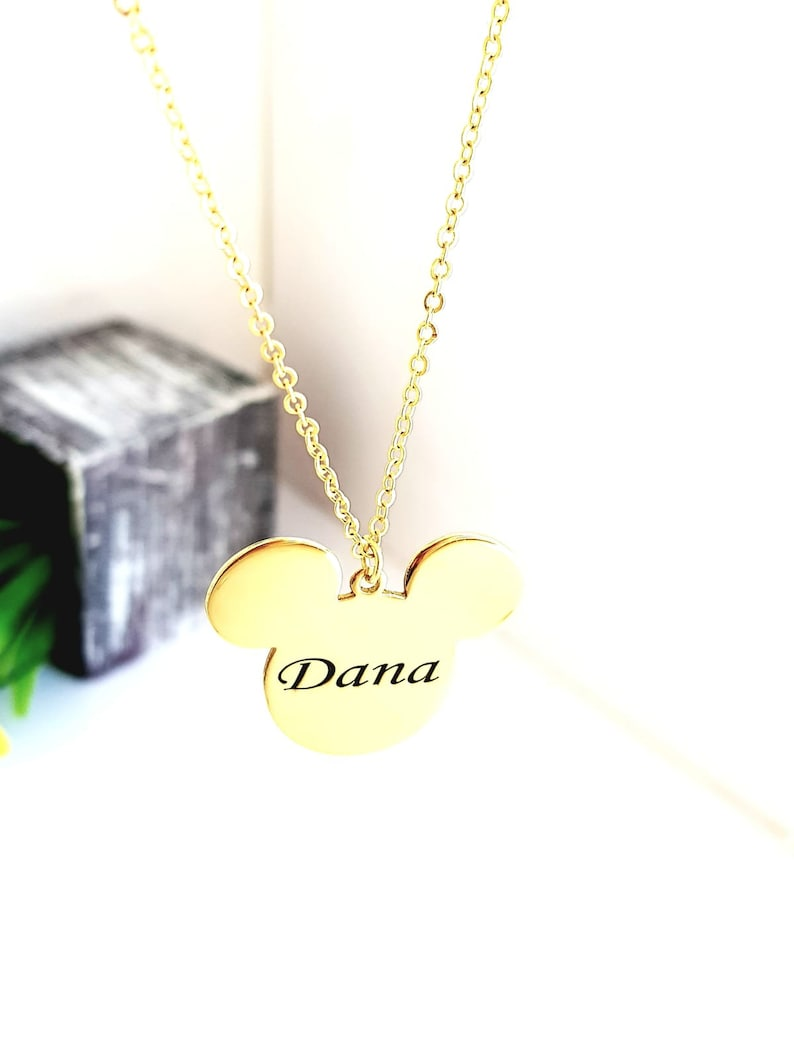 Name Necklace Girl Necklace Personalized Necklace Mickey mouse 18k Gold Plated Necklace Disney Land Mickey mouse Necklace Monogram