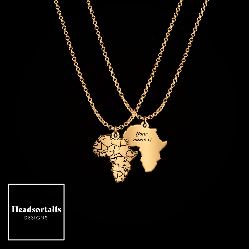Personalized African Map pendant Gold Africa Map Necklace customised necklace African jewelry africa shaped Africa continent necklace