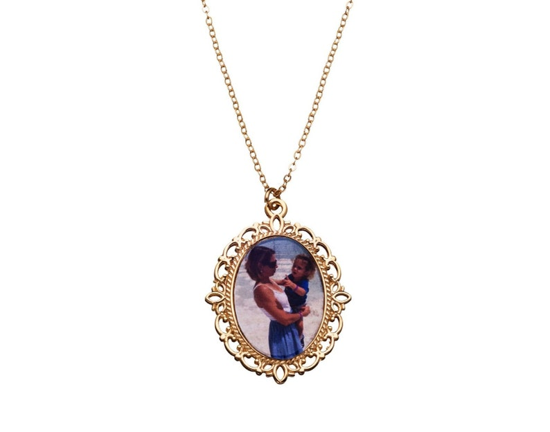 Photo Necklace Photo Pendant Necklace Your Own Photo  18k Gold Plated Custom Picture Necklace Personalized Necklace Photo Jewelry