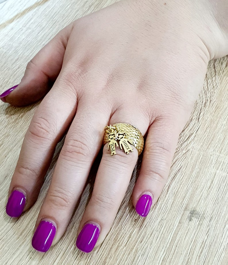 Personalized KIDS CHARMS Ring with Name Engraved Boy Charm Girl Charm Children Custom Names MOM Jewelry 18k gold plated