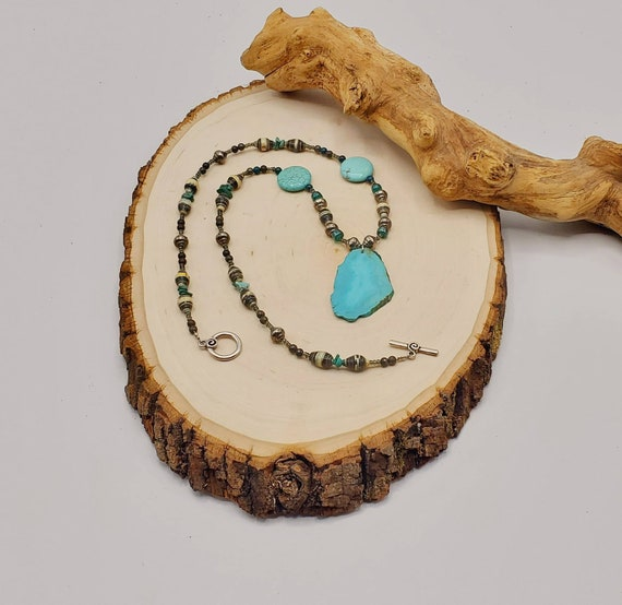 Turquoise & Paper Beads Necklace