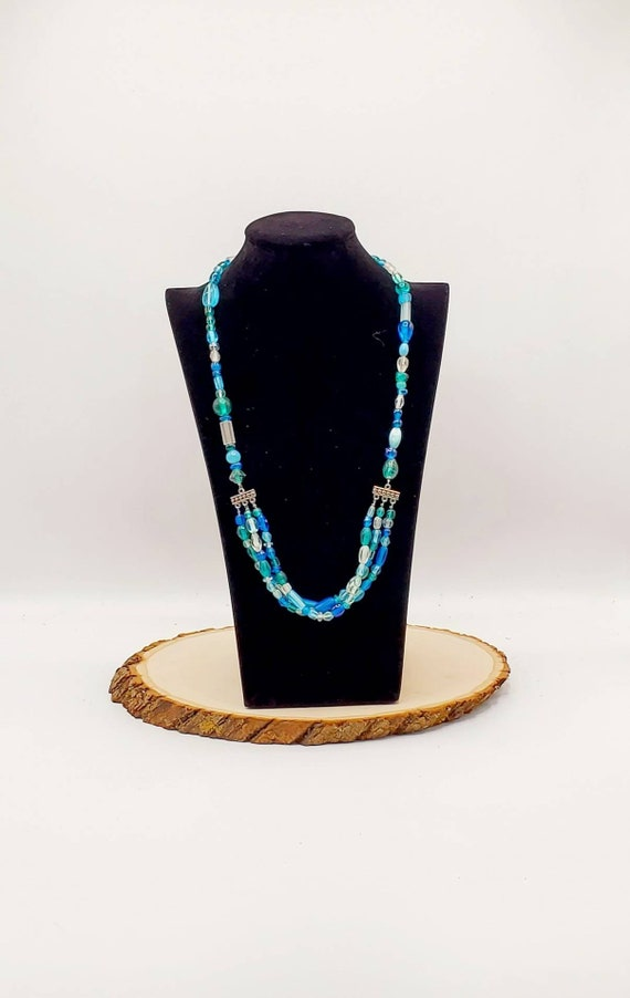 Blue & Green Multi-Strand Glass Necklace