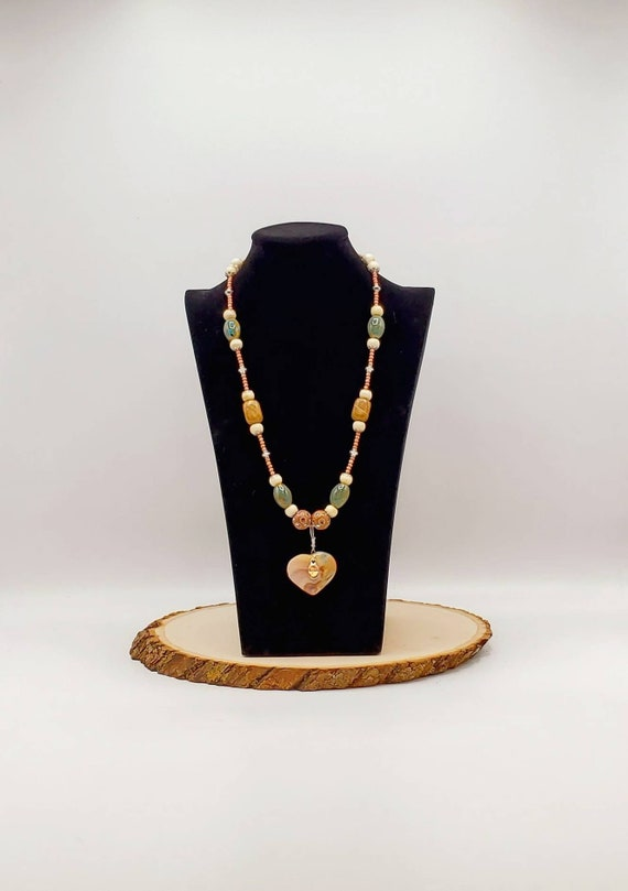 Marbled Heart Statement Necklace