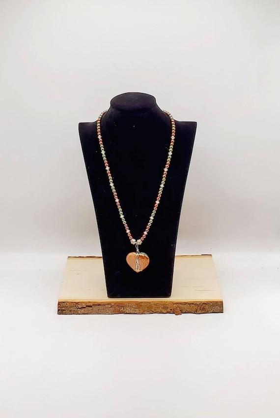 Polychromatic Jasper Heart Necklace - Reversible