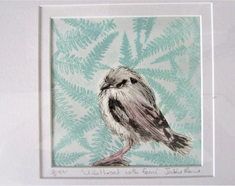 Original, limited edition print of bird with ferns.