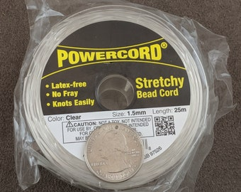 25 meters powercord stretchy beads cord brown Size 2mm.