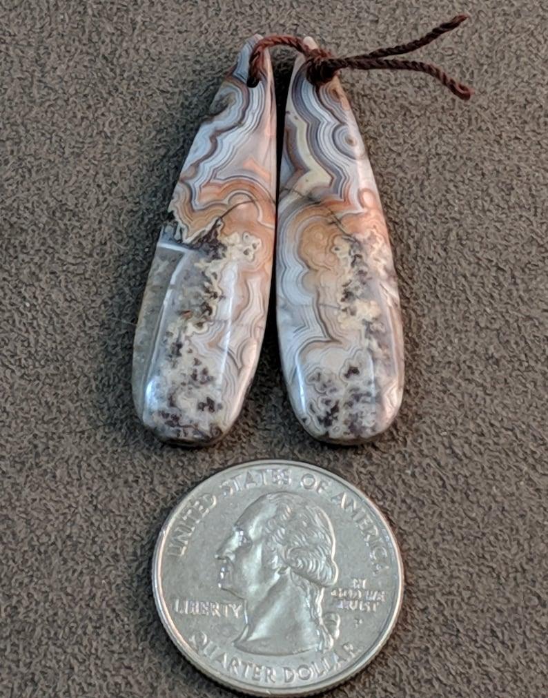 3097  Natural Laguna Lace Agate Earring Teardrop Drilled Pair Pendants