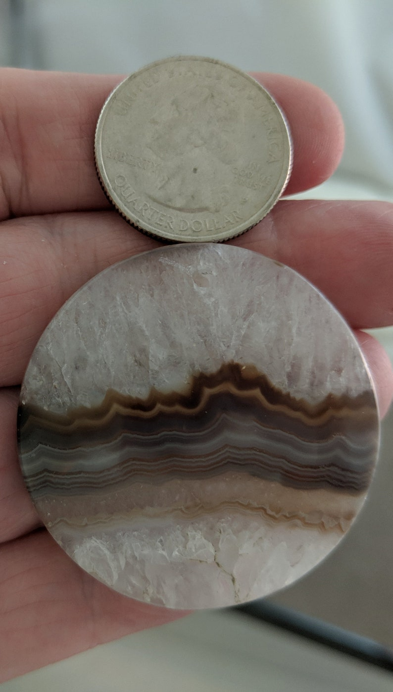 2955-1  Yakut Agate Large Round Pendant approx 42mm from Far Eastern SiberiaRussian