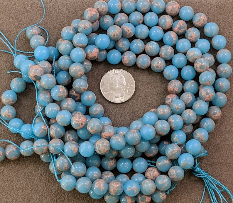 2360  10mm Winter Blue Sea Sediment Imperial Jasper Beads Grade AAA Round Beads 7.5 strand color enhanced