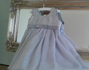 Bridal/Bloemenmeeisje light grey/silver sequined size 68/74