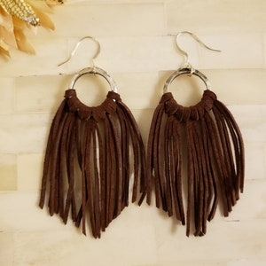 Pink Suede Tassel Earrings with Natural Stone
