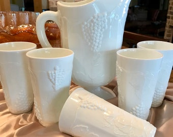 Colony Harvest Grape Milk Glass Hand blown 6-Piece Beverage Set