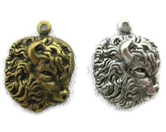 Buffalo Head Pendant 2pcs  IA0070-MR Buffalo Head Beads Matte Rhodium Plated over Brass Buffalo Head Charm