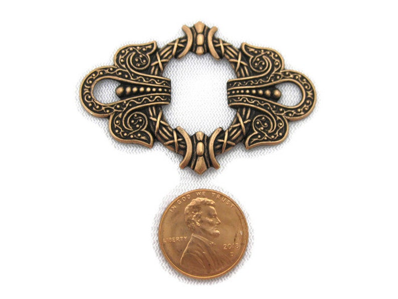 Antiqued Brass Art Nouveau Buckle Motif Made in the USA
