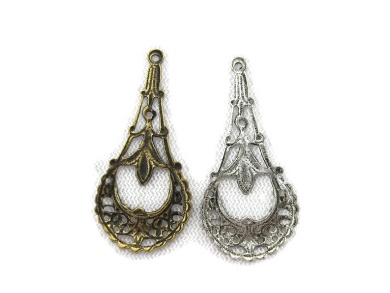 4 pieces Made in the USA Antiqued Brass Oval Filigree Earring Finding