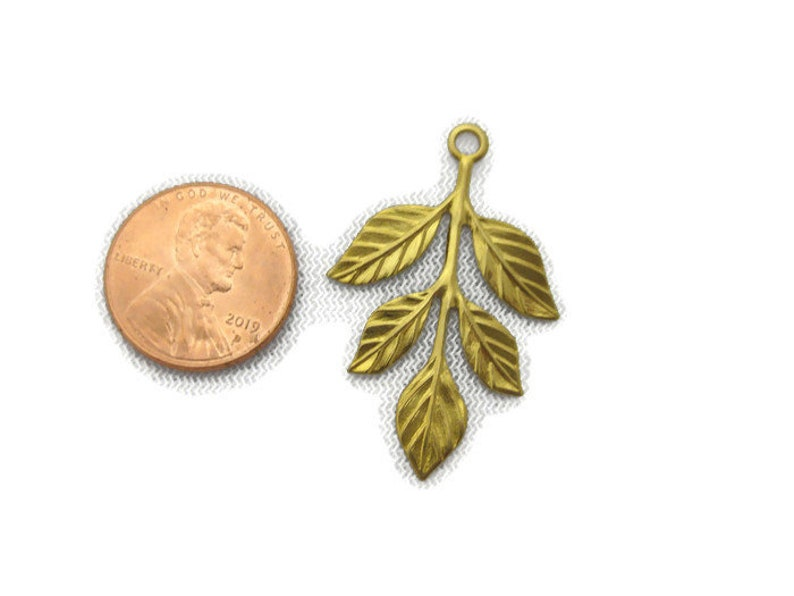 Antiqued Brass 5 Leaf Branch Drop with Top Ring 2 pieces Made in the USA