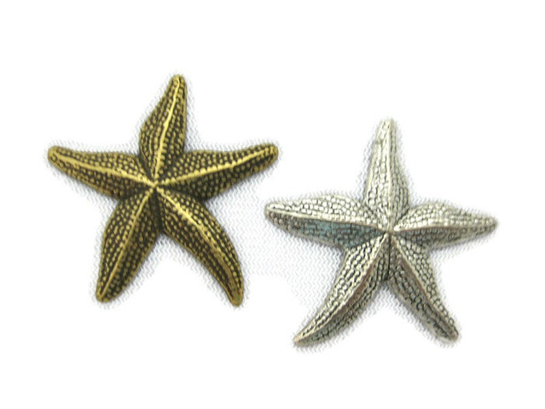 Antiqued Brass Vintage Design Starfish Stamping No Hole Made in the USA 2 pieces
