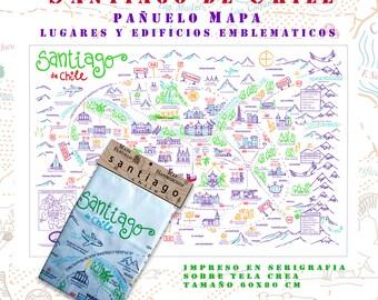 Map of Santiago, Chile/Handkerchief