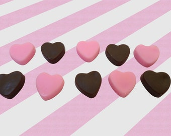 Strawberry and Chocolate Heart Candy Decoden Resin Cabochons, Kawaii Decoden, 20pc set