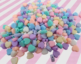 Pastel Heart Candy Necklace Beads, Acrylic Beads - 100 pc set
