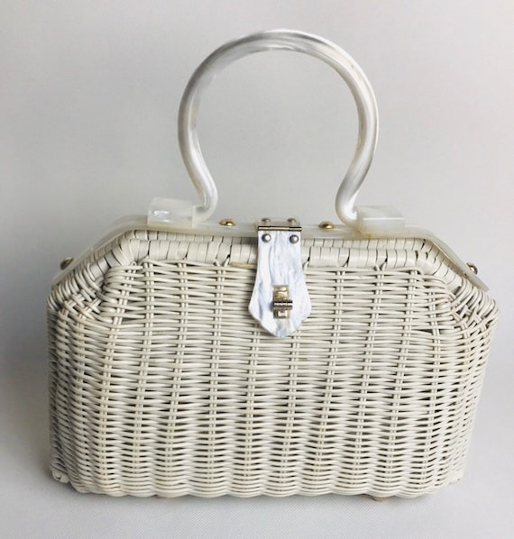 Vintage Wicker White Purse | 60's Fashion