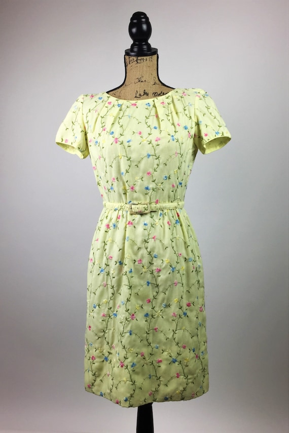 The 60's Yellow Floral Mini Dress