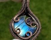 Labradorite and Amethyst Crescent Moon Pendant, Labradorite Moon Copper Wire Wrapped Pendant