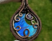 Labradorite Crescent Moon Necklace, Labradorite and Amethyst - Peridot Wire Wrapped Moon Pendant