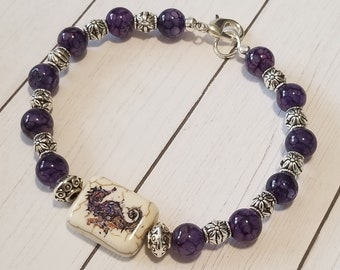 Purple Seahorse Bracelet