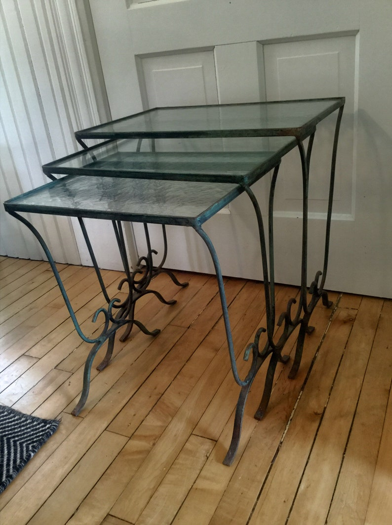 Fantastic Outdoor Nesting Tables Iron And Glass Vintage Glass Top Set Of 3 Metal Patio Tables Porch Tables End Table Side Table Occasional Home Remodeling Inspirations Genioncuboardxyz