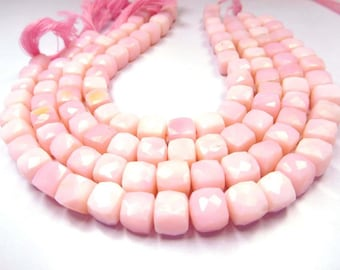 18gm/29beads Pink Opal Faceted Loose Gemstone 3d Cube Box Beads 7-8 Mm(ac61)