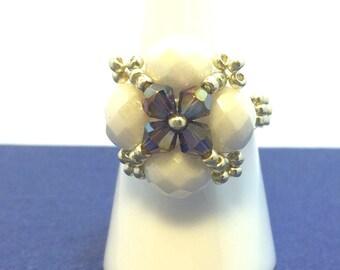 Ring, Statement Jewelry, ring beads, Miyuky delirium beads, Peyote ring, Handmade ring, white ring, gift for women