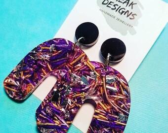 Galaxy Chunky Foil Glitter U's! Stud earring dangles