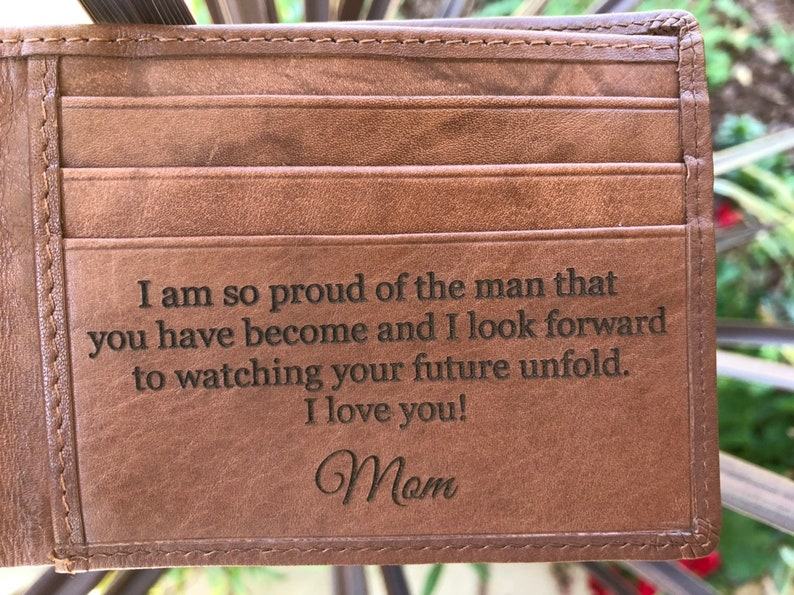 5a72e6d2ab1 To My Son - Gift from Mom, Personalized Gifts for Son, Custom Engraved  Wallet, Son Birthday Graduation Gifts, Mom to Son Gifts, Gift for Son