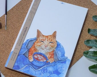 Cat Coffee Watercolor Notebook Handmade,Hard cover journal,Illustration,Notebook,Sketchbook,Diary,Gift,21×14.8