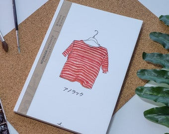 Shirt Watercolor Notebook Handmade,Hard cover journal,Illustration,Notebook,Sketchbook,Diary,Gift,21×14.8