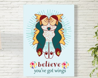 Art Print/Believe/Youve Got Wings/ Couple/Printable  Wall Art/Colorful Poster / Contemporary Design Prints/Digital Download
